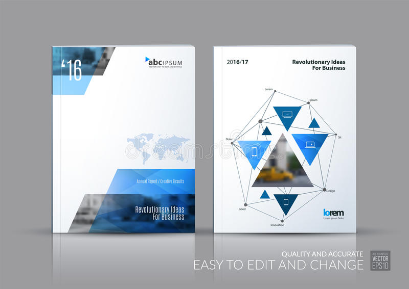 Business vector set. Brochure template layout, cover design annual report, magazine, flyer in A4 with triangles, polygons for vector illustration
