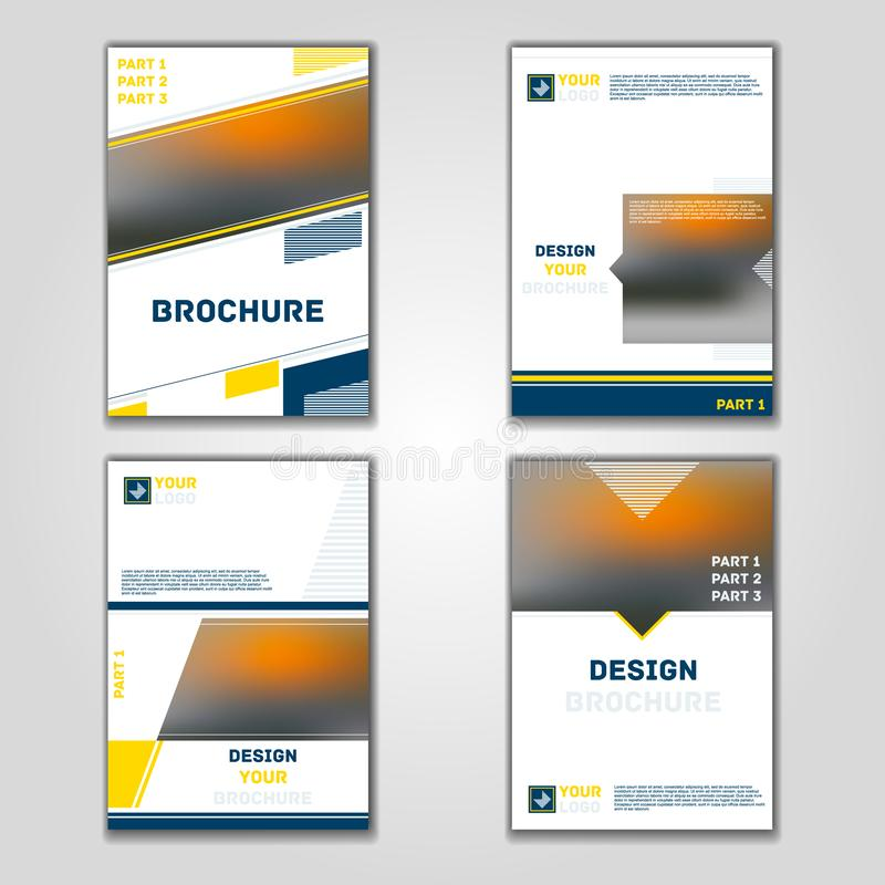 Business vector set. Brochure template layout, cover design annual report, magazine, flyer in A4 with yellow blue flying triangles royalty free illustration