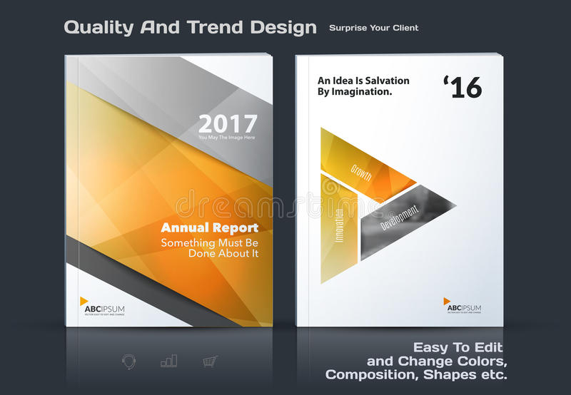 Business vector template, brochure design, abstract annual report, cover modern layout. Flyer in A4 with colourful diagonal triangular shapes for print stock illustration
