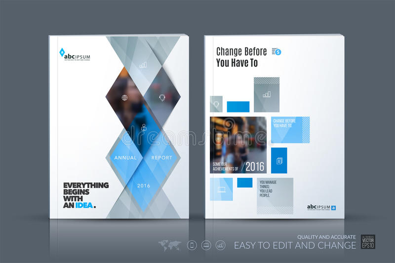 Business vector template. Brochure layout, cover modern design a. Nnual report, magazine, flyer in A4 with grey geometric shapes, triangles, rhombus for business vector illustration