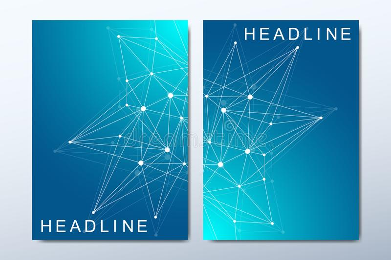 Business vector templates for brochure, cover, flyer, annual report, leaflet. Minimal abstract composition with molecule stock illustration