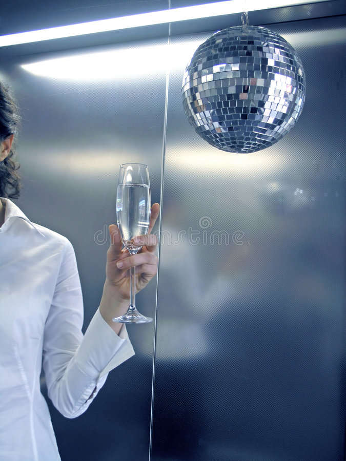 Business victory. Business woman celebrate with glass of champagne royalty free stock photos
