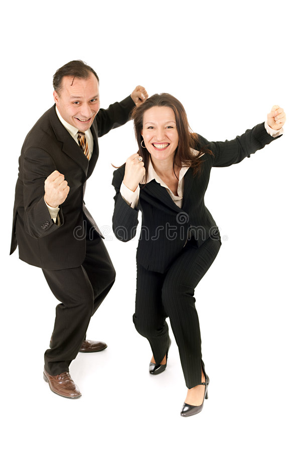 Business victory. Happy business couple showing their victory royalty free stock photos