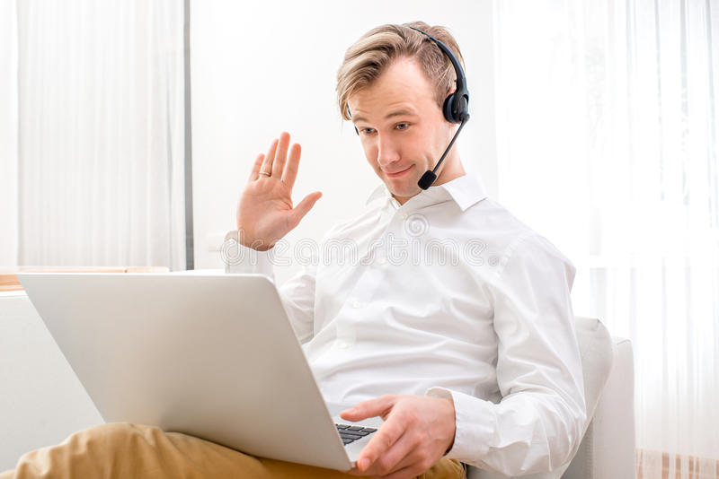 Business video call stock photo