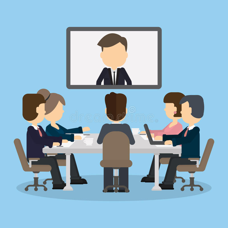 Business video conference. stock vector. Illustration of ...