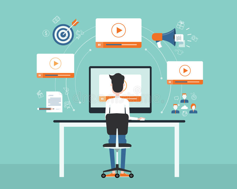 Business video marketing content on line concept. royalty free illustration