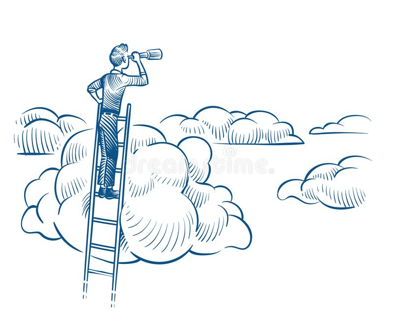 Business vision. Businessman with telescope standing on ladder among clouds. Successful future achievements sketch royalty free illustration