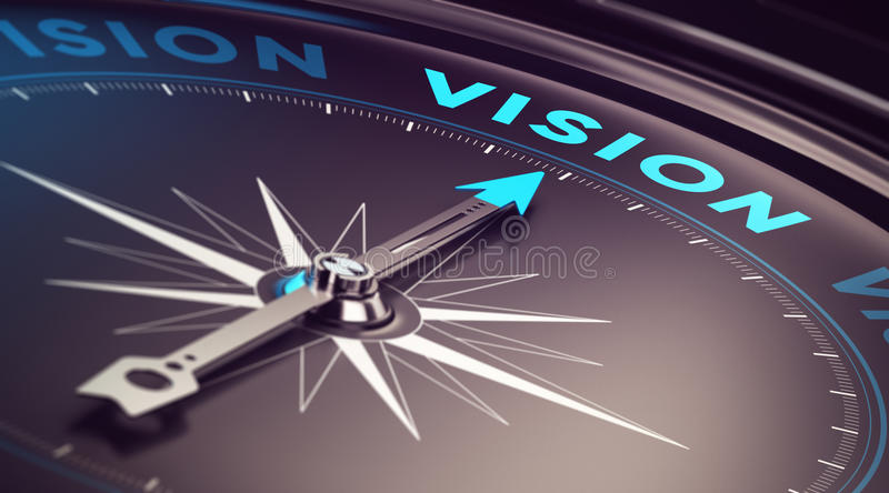 Business Vision. Compass with needle pointing the word vision with blur effect plus blue and black tones. Conceptual image for immustration of company or vector illustration