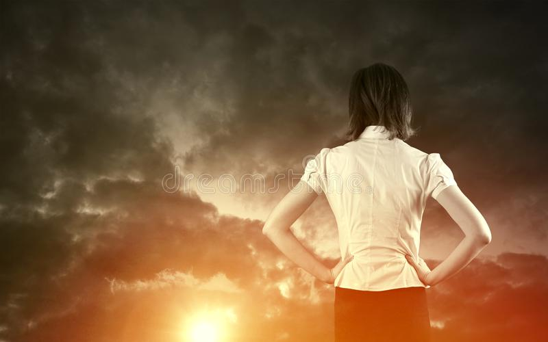 Business vision concept. Business vision and strategy concept with businesswoman stock images
