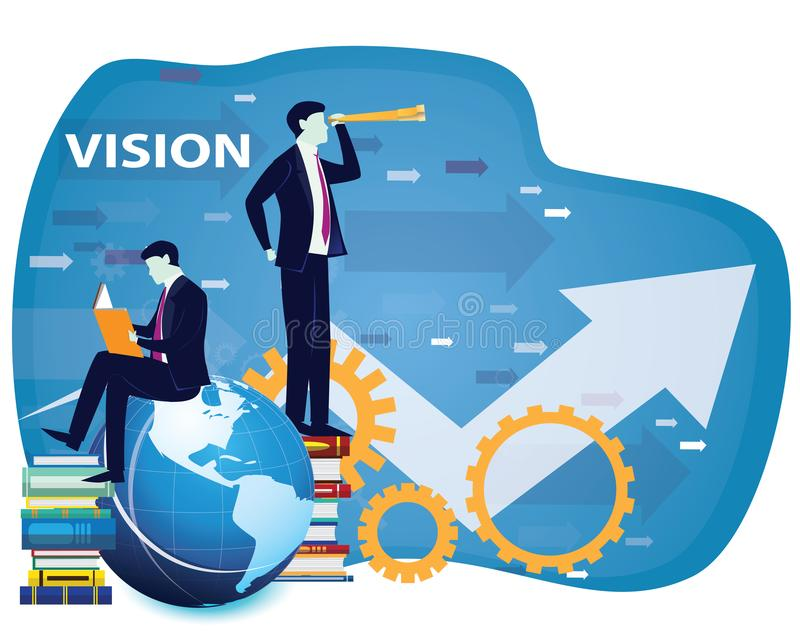 Business Vision Concept, Businessman Looking Forward to the Future stock illustration