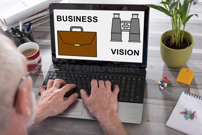 Business vision concept on a laptop screen royalty free stock photo