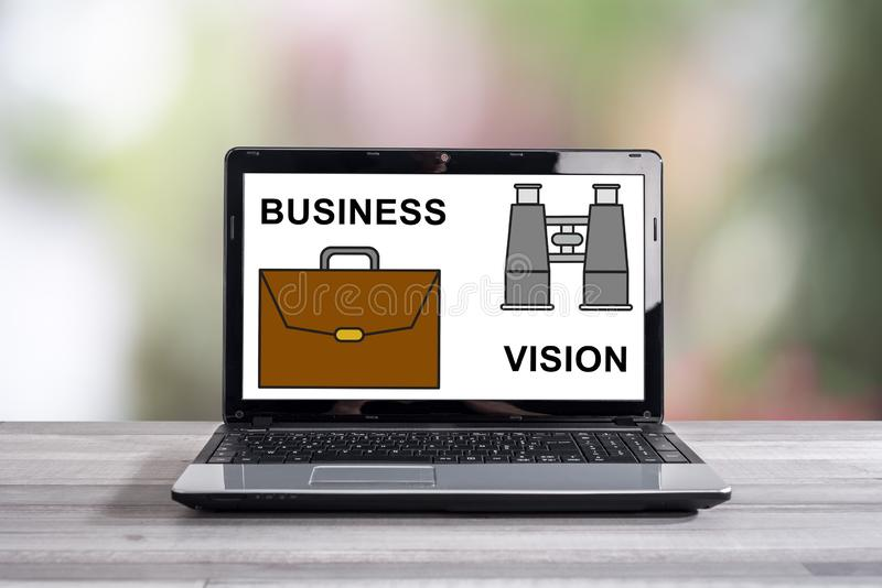 Business vision concept on a laptop screen stock photo