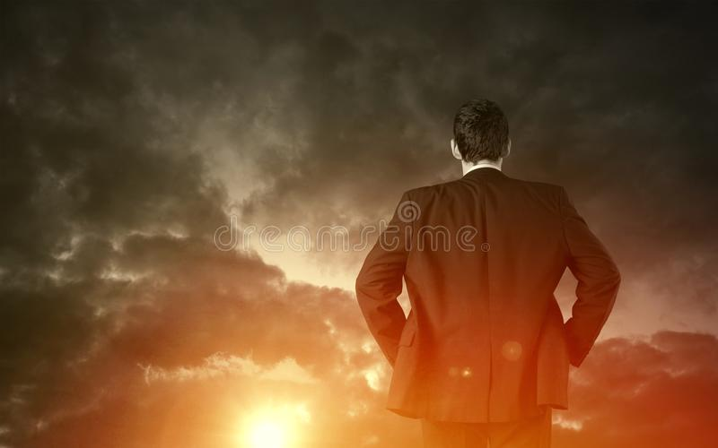 Business vision concept. Business vision and strategy concept with businessman stock image