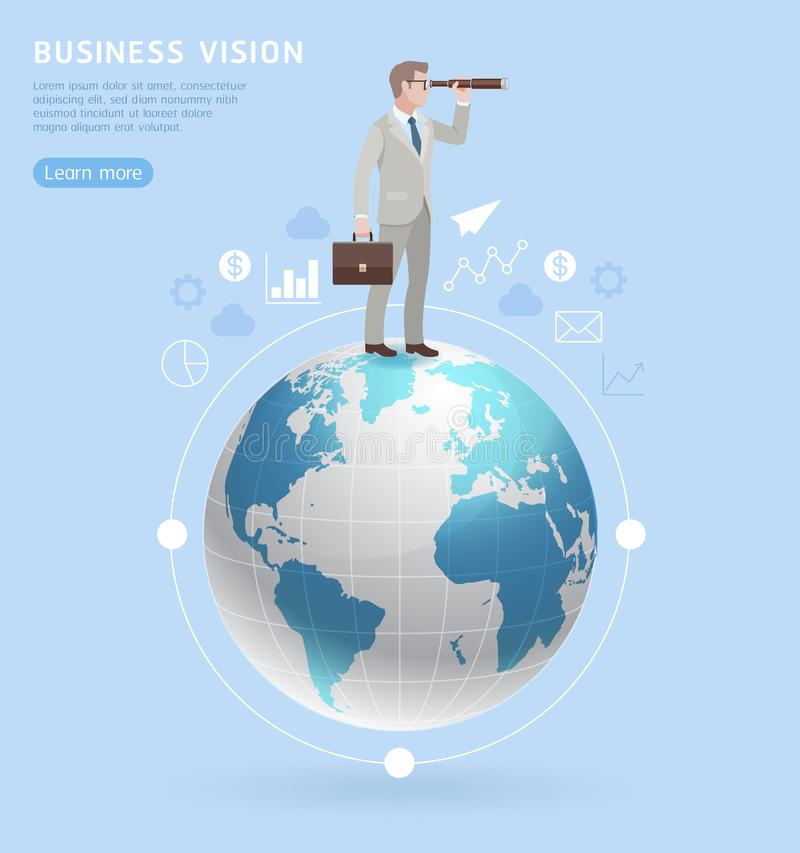 Free Business Vision Concepts. Businessman Standing With Binoculars O Stock Photos - 123099653