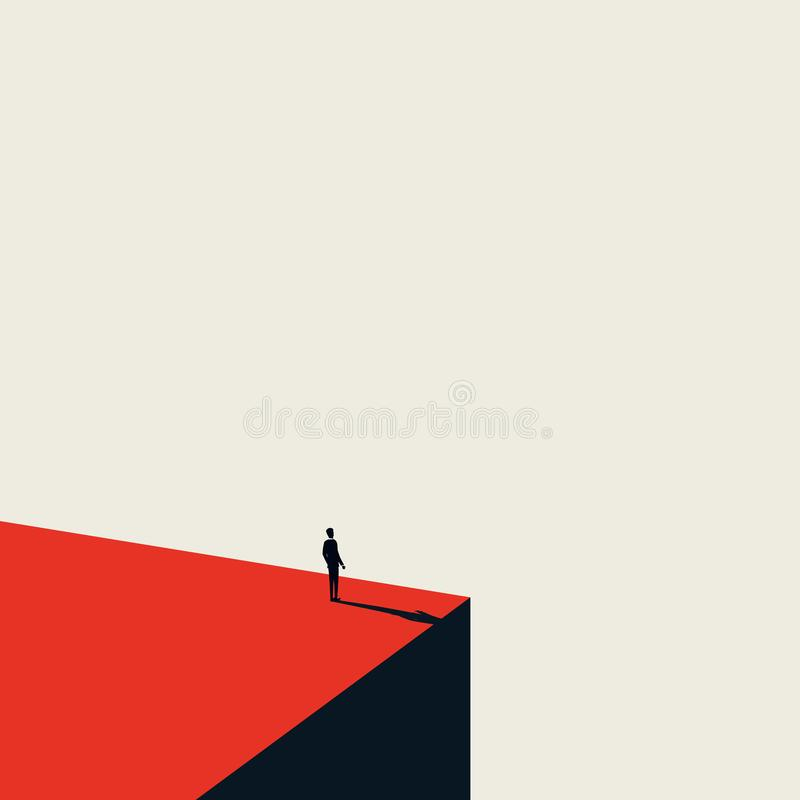 Business vision and opportunity vector concept in minimalist art style. Businessman standing on the edge of cliff. Looking ahead. Symbol of future, career stock illustration