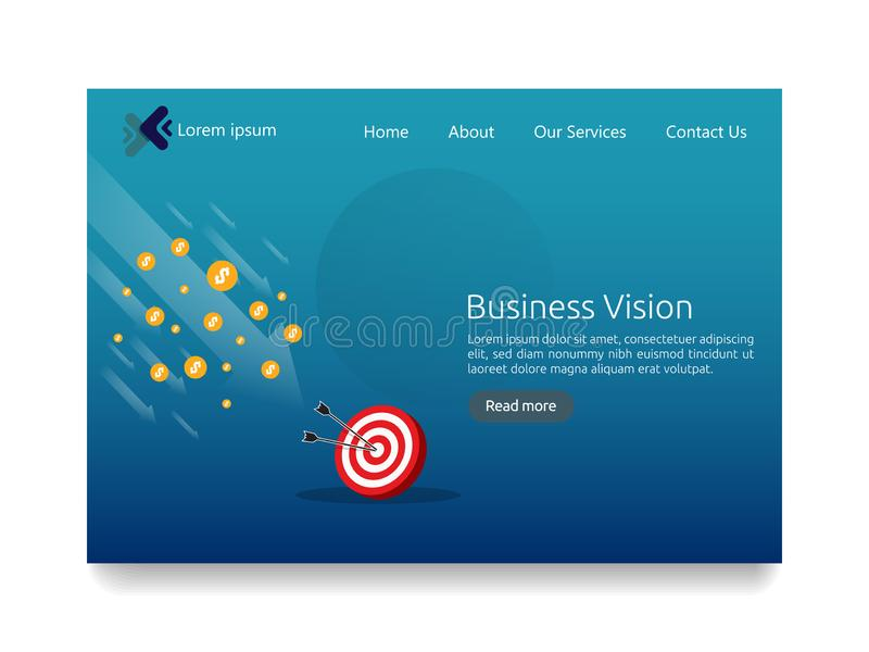 Business vision strategy concept. arrow to achievement goal target. financial success analysis. successful investment income profi stock illustration