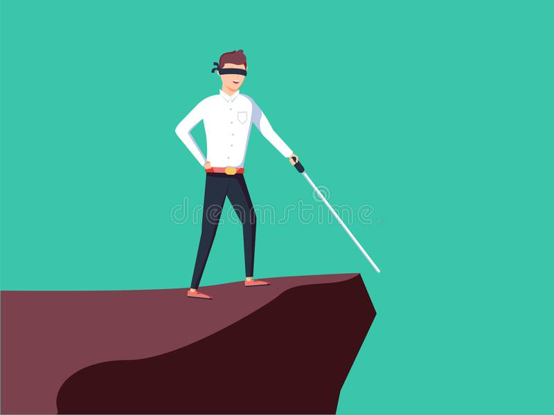 Business vision, strategy, success vector concept with businessman standing on top of rock or mountain above hole. With blindfolded eyes looking ahead with a stock illustration
