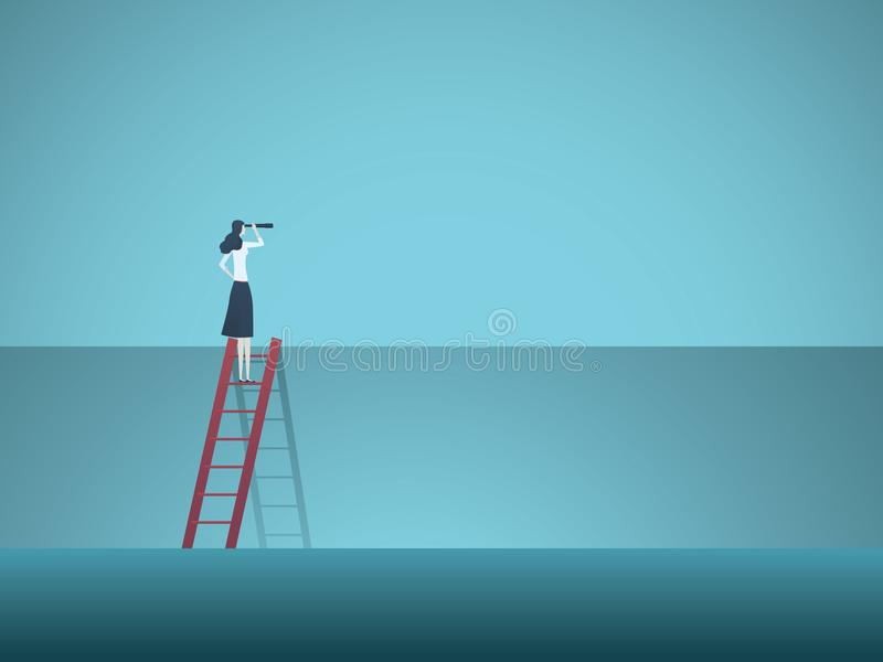 Business vision vector concept with business woman standing on top of ladder above wall. Symbol of overcoming obstacles. Challenges, breaking barriers, new royalty free illustration