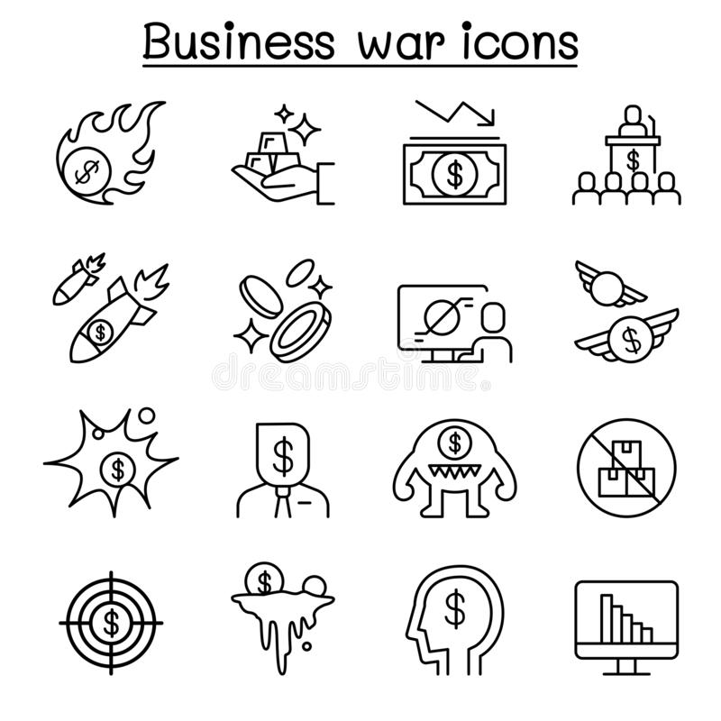 Business war, Business sanction, trade war, import tax icon set in thin line style stock illustration