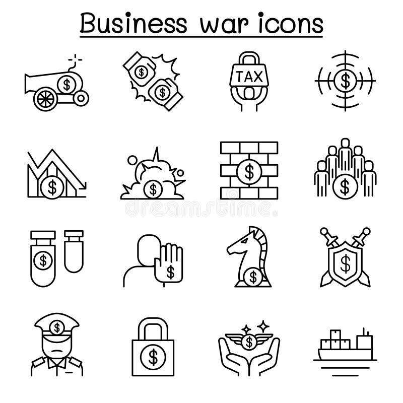 Business war, Trade war, currency war, tariff, economic sanction icon set in thin line style. Illustration graphic design vector illustration