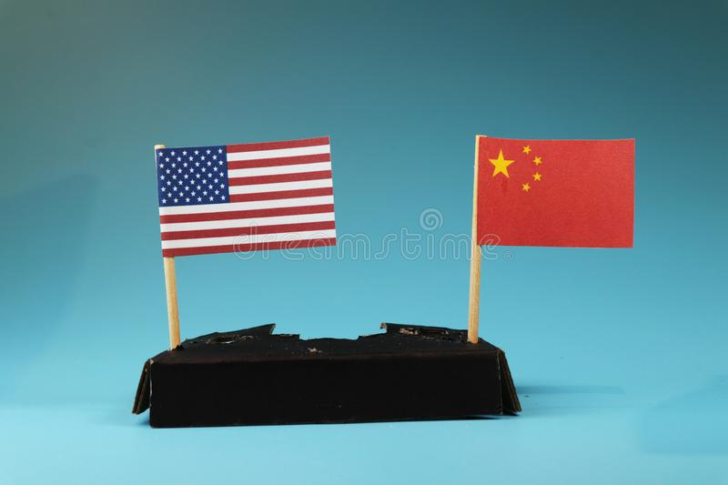Business war between USA and China. West between East. Communism between capitalism. royalty free stock photo