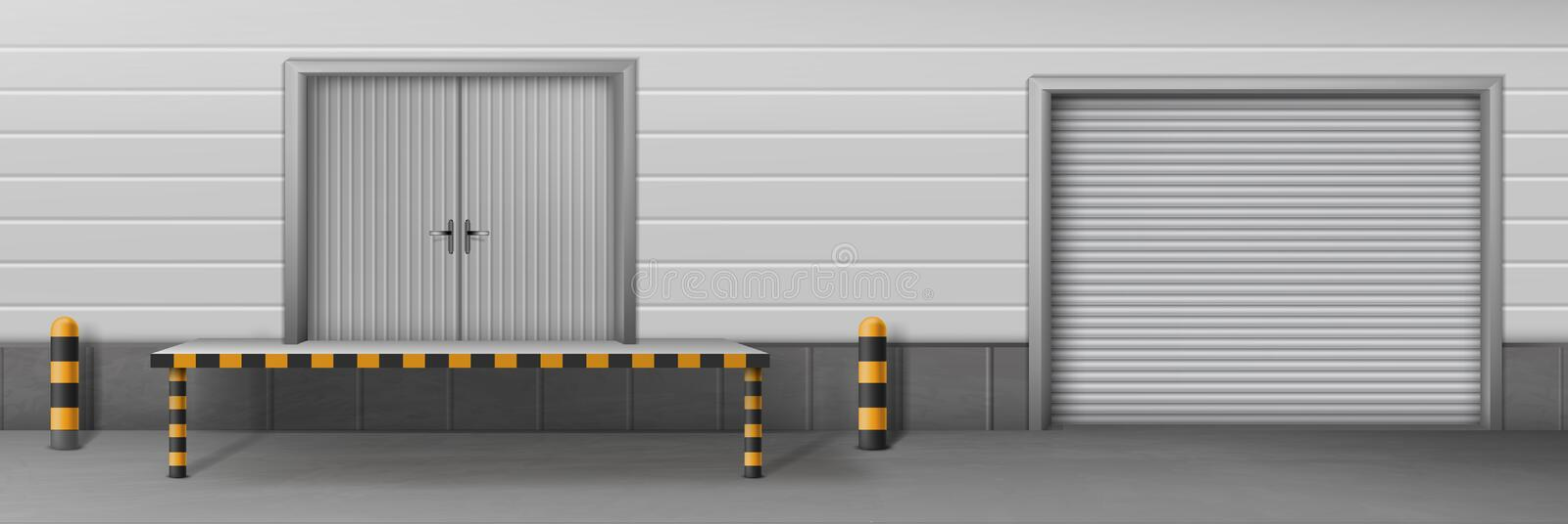 Business warehouse closed gates realistic vector vector illustration