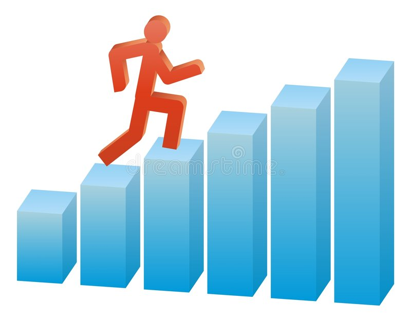 Business way on the graph. Business people run up on the graph stock illustration