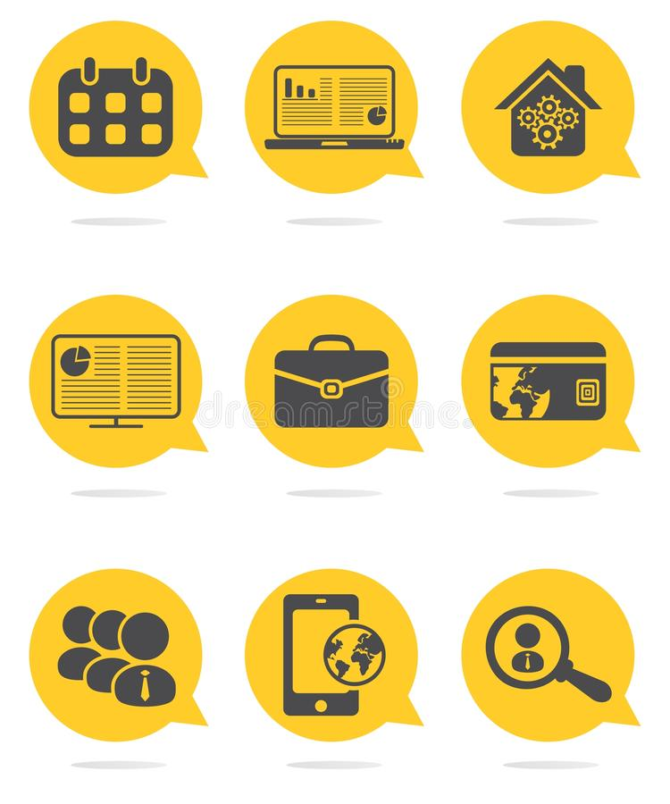 Business and finance icons set. Colored business and finance icons set stock illustration