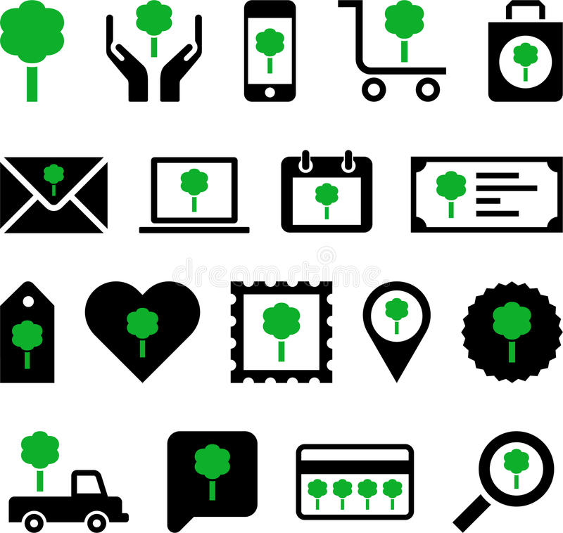 Download Business Web Icons With Green Tree Stock Photo - Image: 35056646