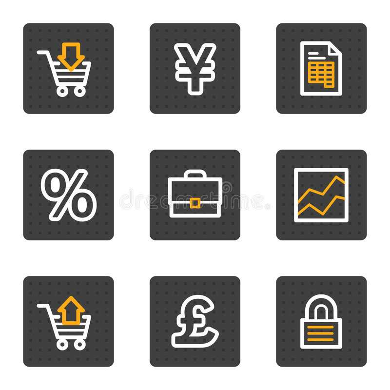 Download Business Web Icons, Grey Buttons Series Stock Vector - Image: 9185092