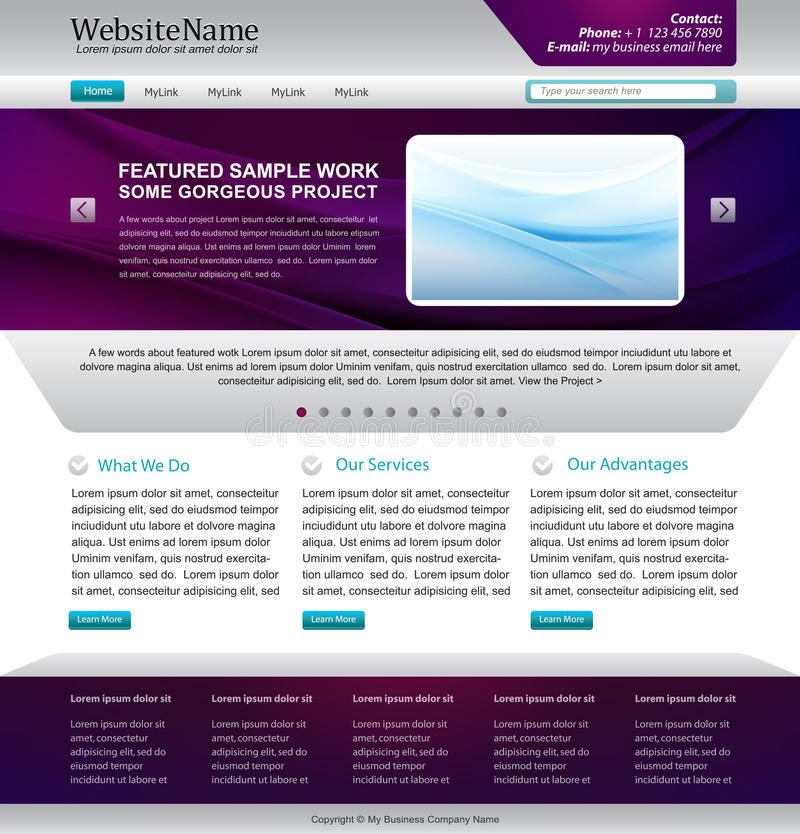 Business web site. Awesome business web site design template - purple and silver - vector stock illustration
