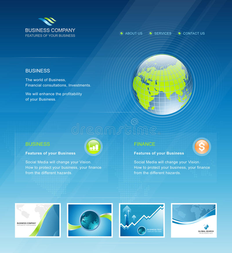 Business web site design elements template royalty free illustration