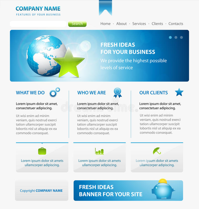 Business web site design template with Earth. Star and banner royalty free illustration