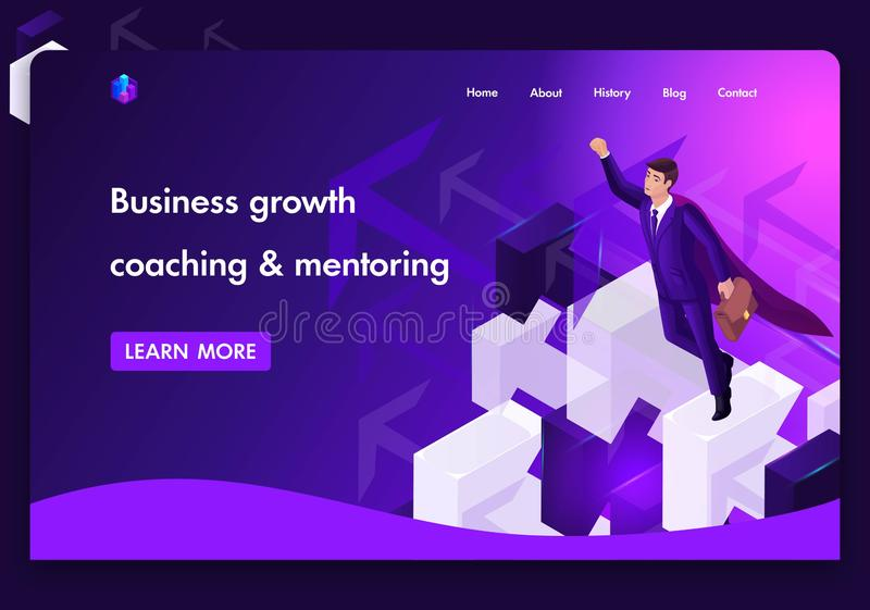 Business website template design. Isometric concept for distance education, business up achieving the goal, coaching and mentoring stock illustration