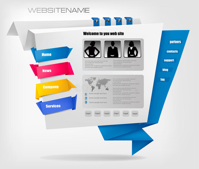 Download Business Website Template With Origami. Vector Stock Vector - Image: 20920121