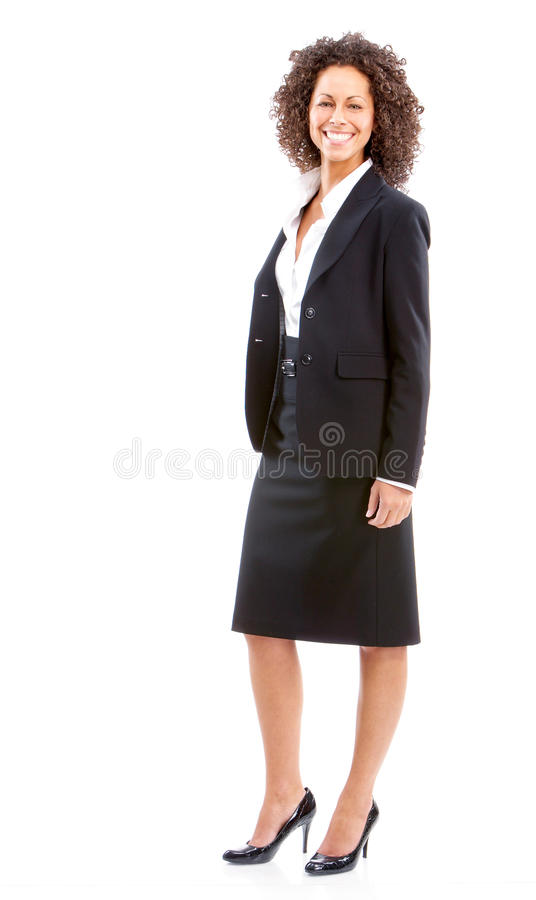 Business woman. Smiling business woman. Isolated over white background royalty free stock photography