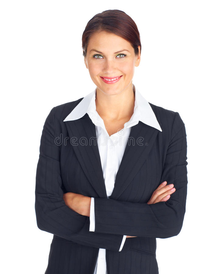 Business woman. Smiling business woman. Isolated over white background royalty free stock photo