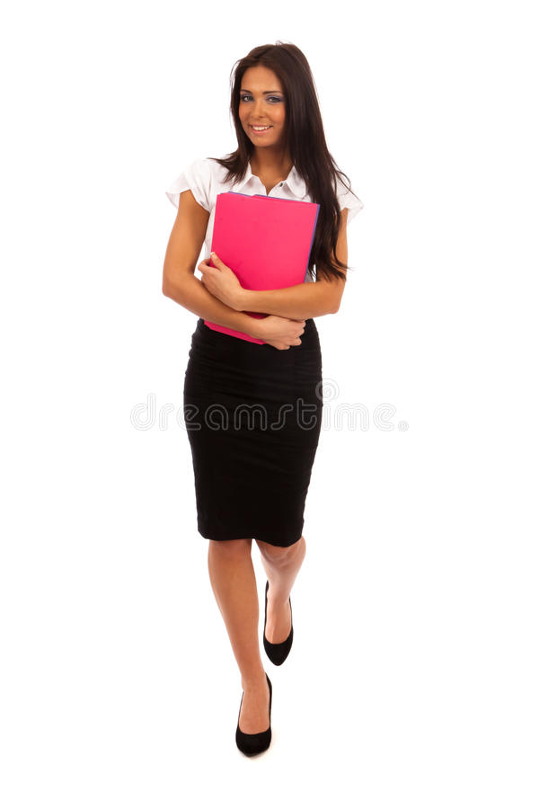 Business Woman. In black skirt and white blouse royalty free stock photo