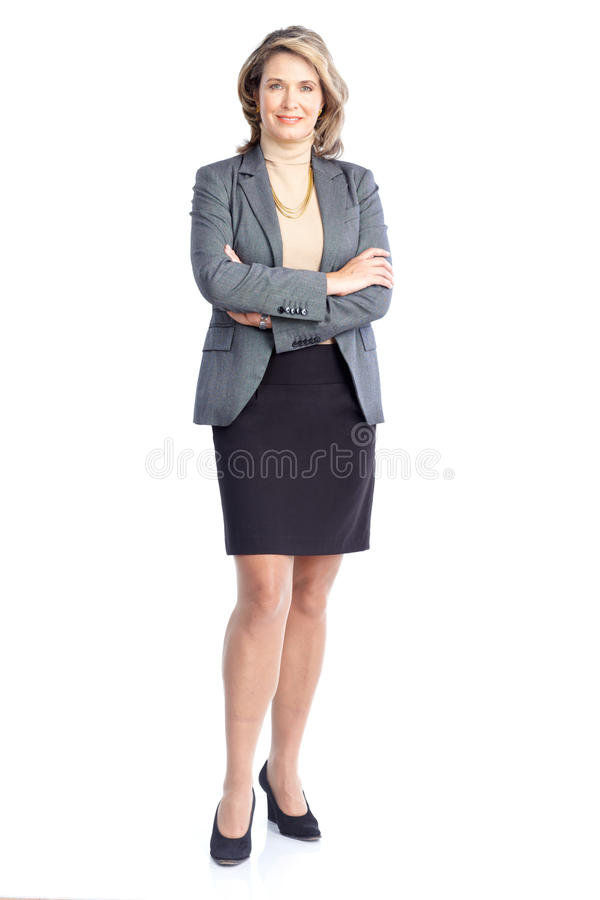Business woman. Smiling business woman. Isolated over white background royalty free stock image