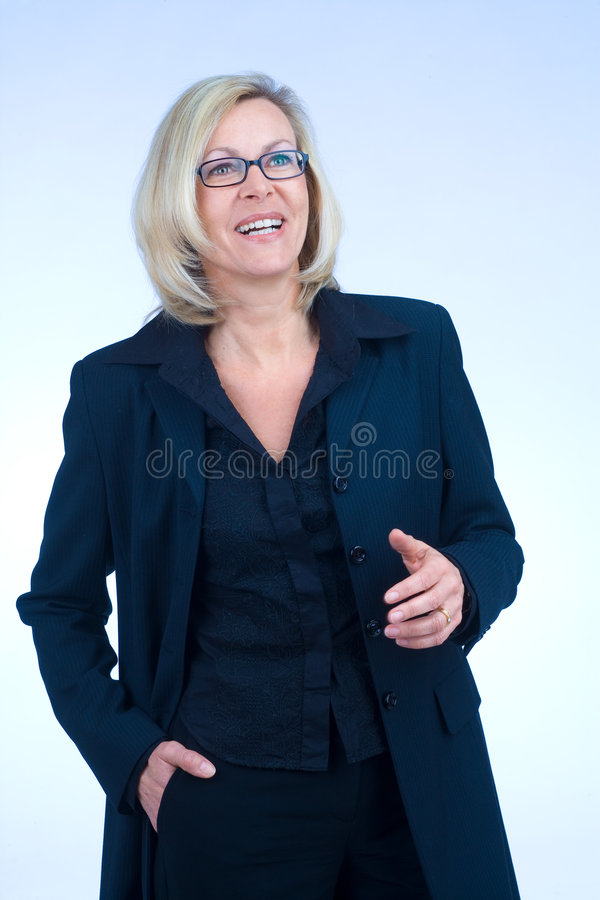 Business woman. Confident business woman is talking royalty free stock image