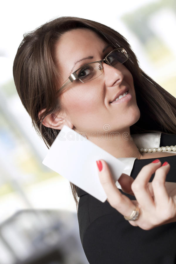 Download Business woman stock image. Image of holding, card, cute - 23167255