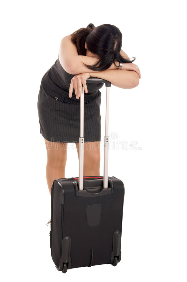 Business Woman. Stressed business woman with suitcase stock images