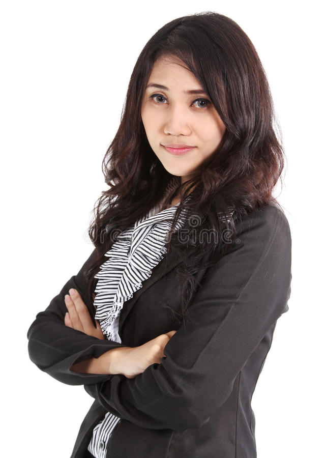 Business woman. Image of asian business woman in black suit working at office stock images