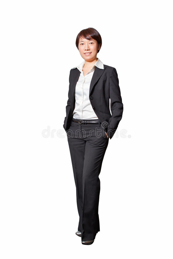 Business woman 3. Isolated smiling business woman(Asian/Chinese/yellow race) in white background stock images