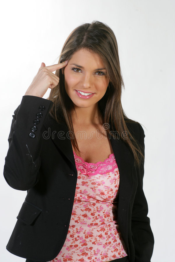 Business woman #3. Expressive beautiful business woman in a white background royalty free stock photos