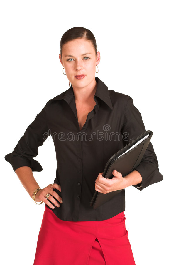 Business woman. Dressed in a black shirt and red skirt. Holding file stock photo
