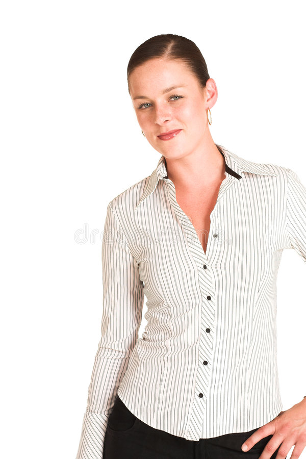 Business woman. Dressed in a white pinstripe shirt stock image