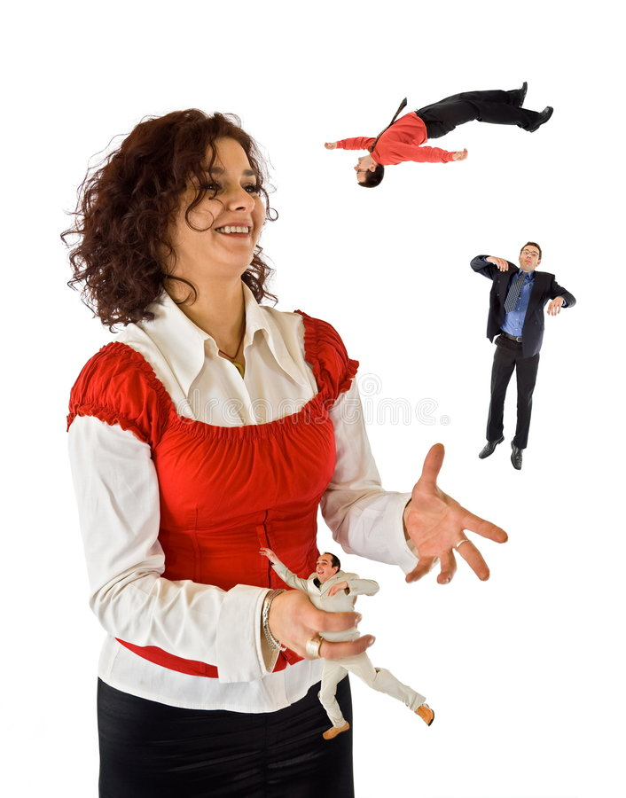 Business woman. Juggling with mans royalty free stock photography