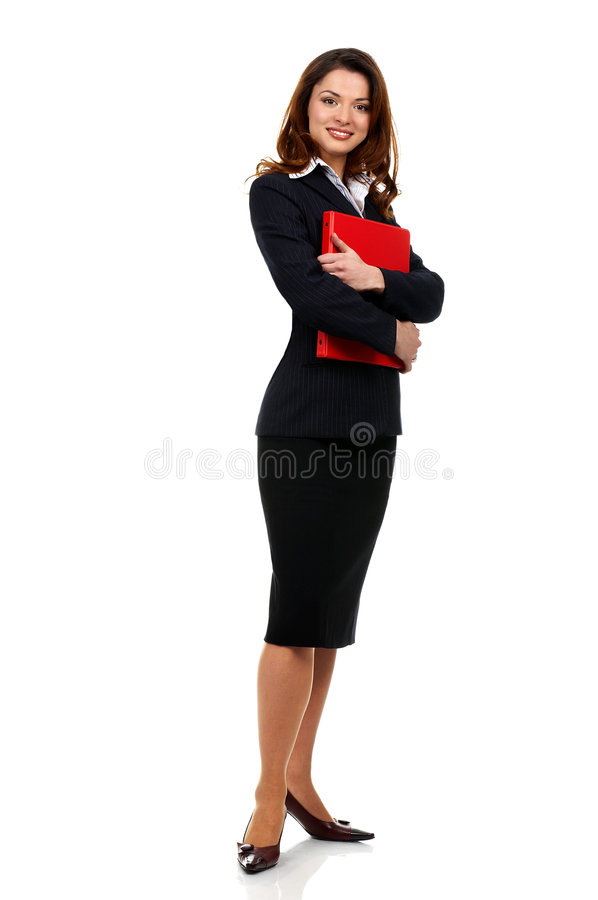 Business woman. Happy successful business woman. Isolated over white background stock photography