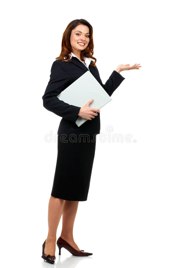 Business woman. Happy successful business woman. Isolated over white background royalty free stock photography